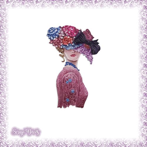 Découpe scrapbooking femme chapeau fleurs vintage en couleurs (ref.3634)