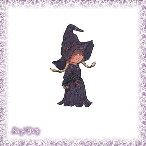 Découpe scrapbooking sorcière halloween fille enfant déguisement en couleurs - ref.3645