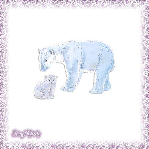 Découpes scrapbooking ours polaires ourson froid pôle nord neige banquise maman bébé animal en couleurs - ref.4745