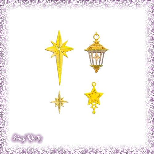 Découpes scrapbooking etoiles lanterne noël décoration sapin fête lumière en couleurs - ref.4804