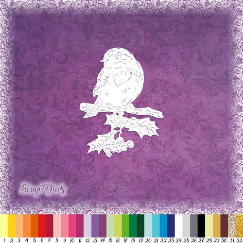 Découpe scrapbooking oiseau rouge-gorge branche arbre houx feuilles animal forêt noël hiver - ref.4729
