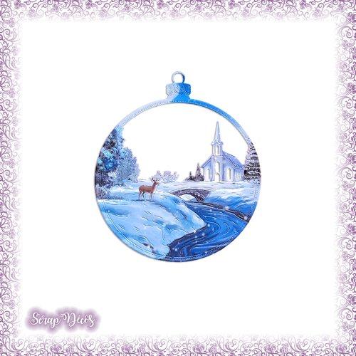 Découpe scrapbooking boule de noël paysage église cerf neige hiver décoration sapin en couleurs découpée - ref.4683