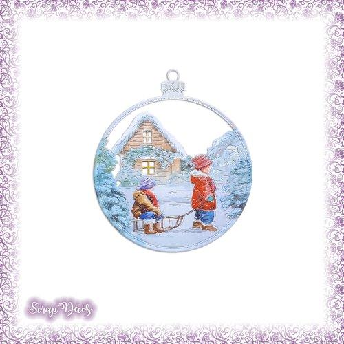 Découpe scrapbooking boule de noël enfants luge neige maison hiver décoration sapin en couleurs découpée - ref.4689