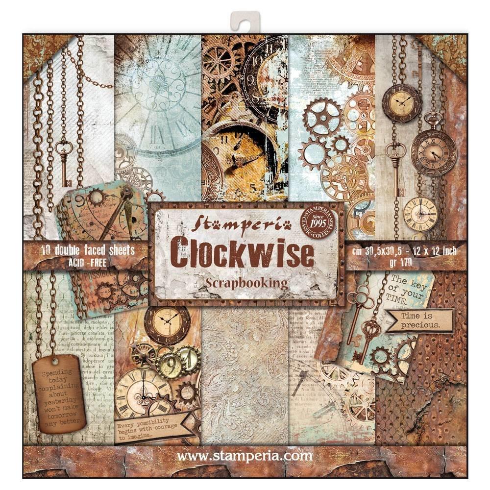 Papier scrapbooking Stamperia - Clockwise - 10 feuilles - 30x30