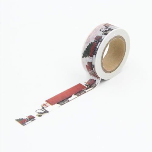 10m de masking tape noel avec des camions - washi tape