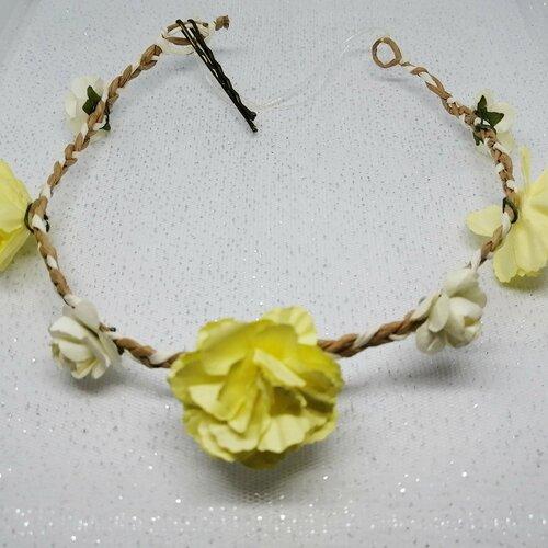 Accessoires, diadème, pour cheveux, fleurs, jaune, féérique