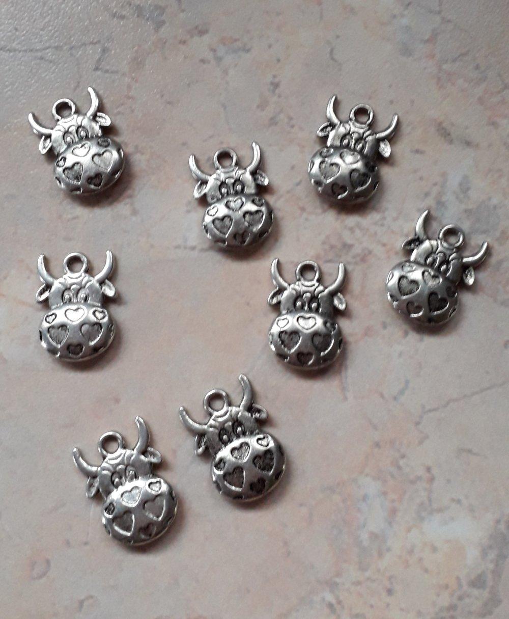 Breloques métal argenté tête de vache