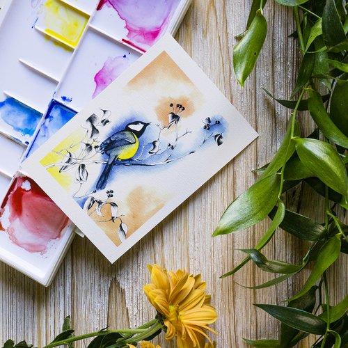 *reproduction 10x15* dessin d'art à l'aquarelle, oiseau dans un arbre