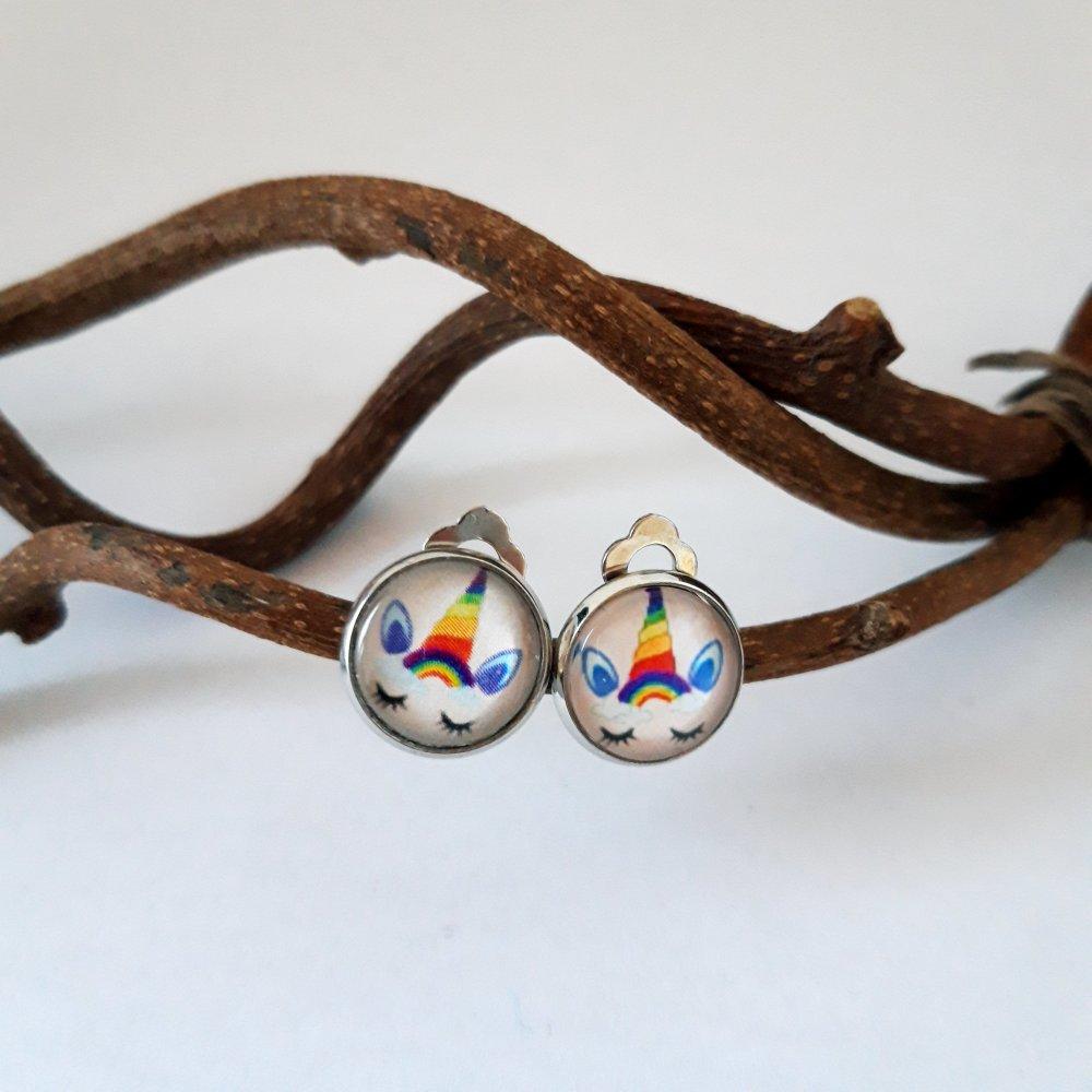Boucles d'oreilles cabochon licorne