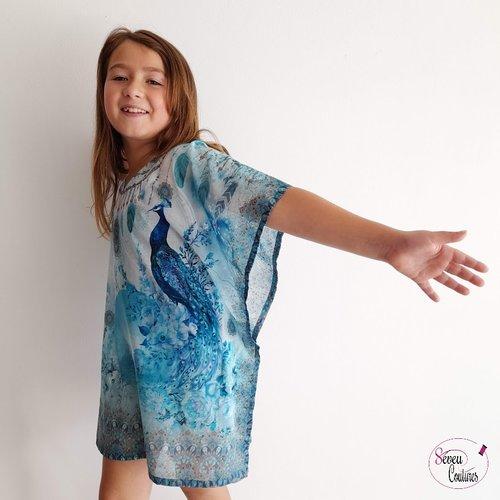 Tunique de plage enfant, imprimée paon