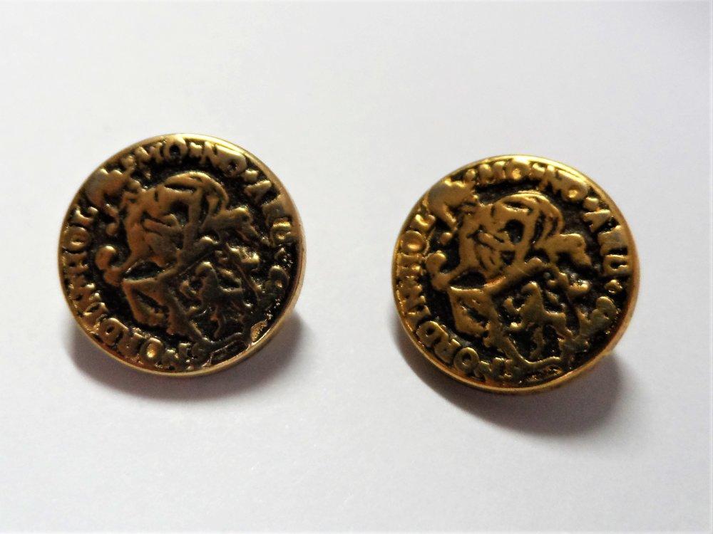 2 Boutons à queue métal 15 mm rond doré