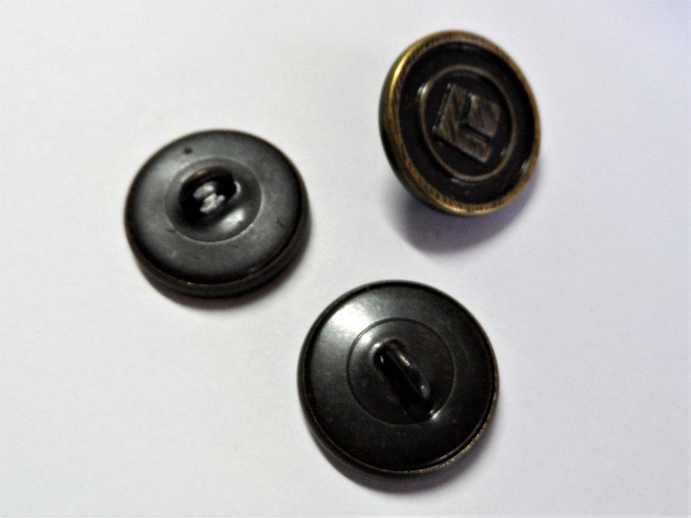 3 Boutons à queue rond métal bronze 19 mm