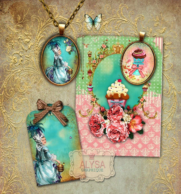 Images digitales pour cabochon + Etiquettes cadeaux - Images pour cabochons - Images à imprimer - Marie-Antoinette | ENVOI EMAIL