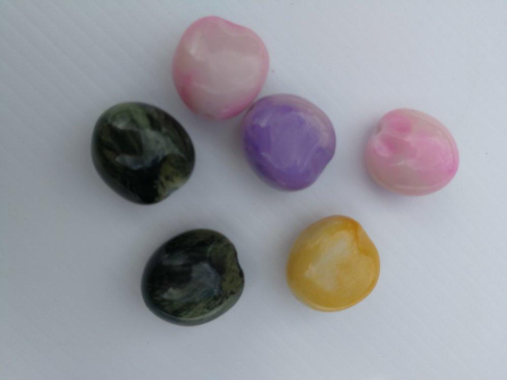 6 perles de galets imitation