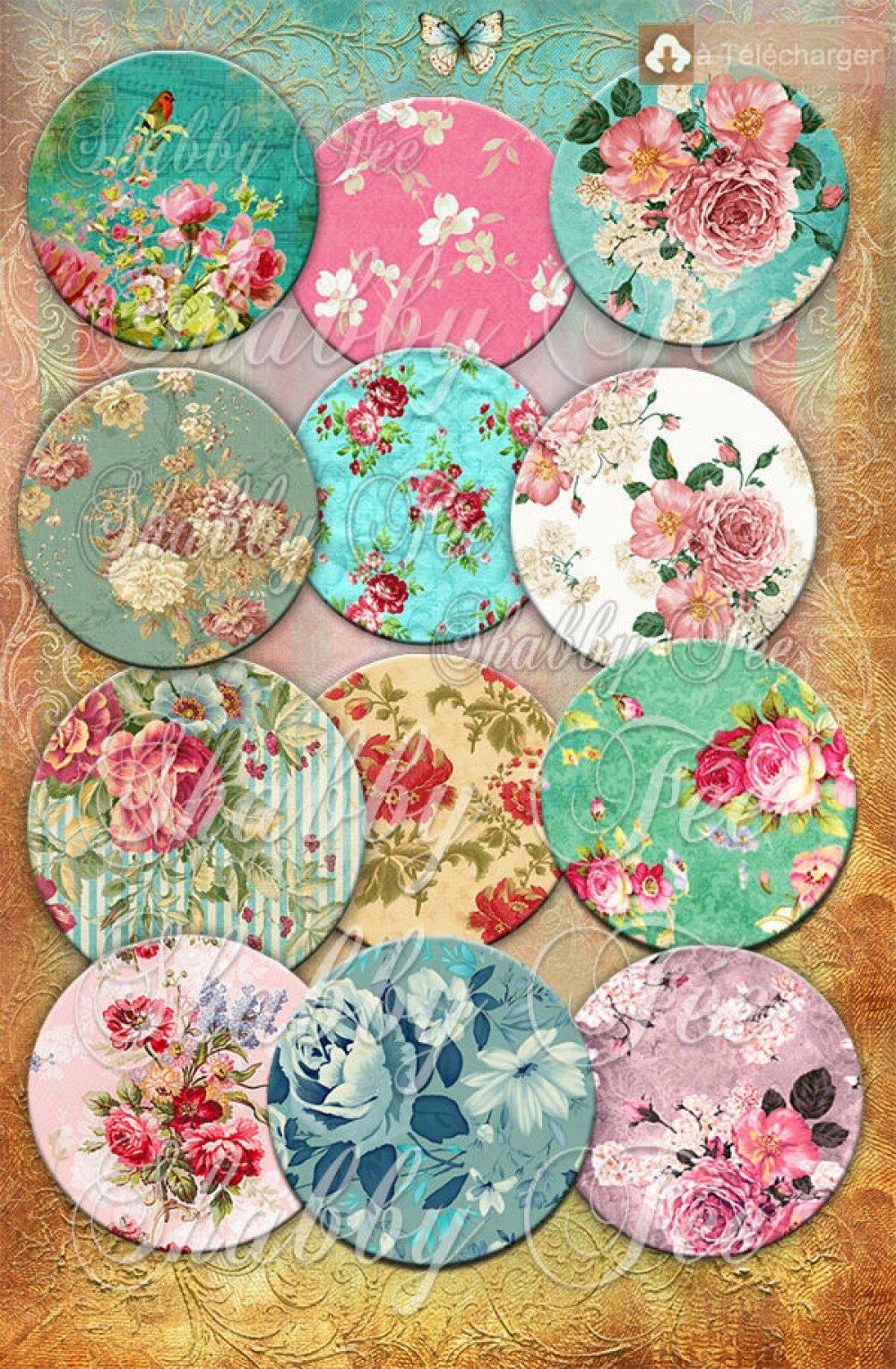 Images cabochons Shabby Chic fleurs - images digitales cabochon, images digitales pour cabochon , images numeriques , planche image