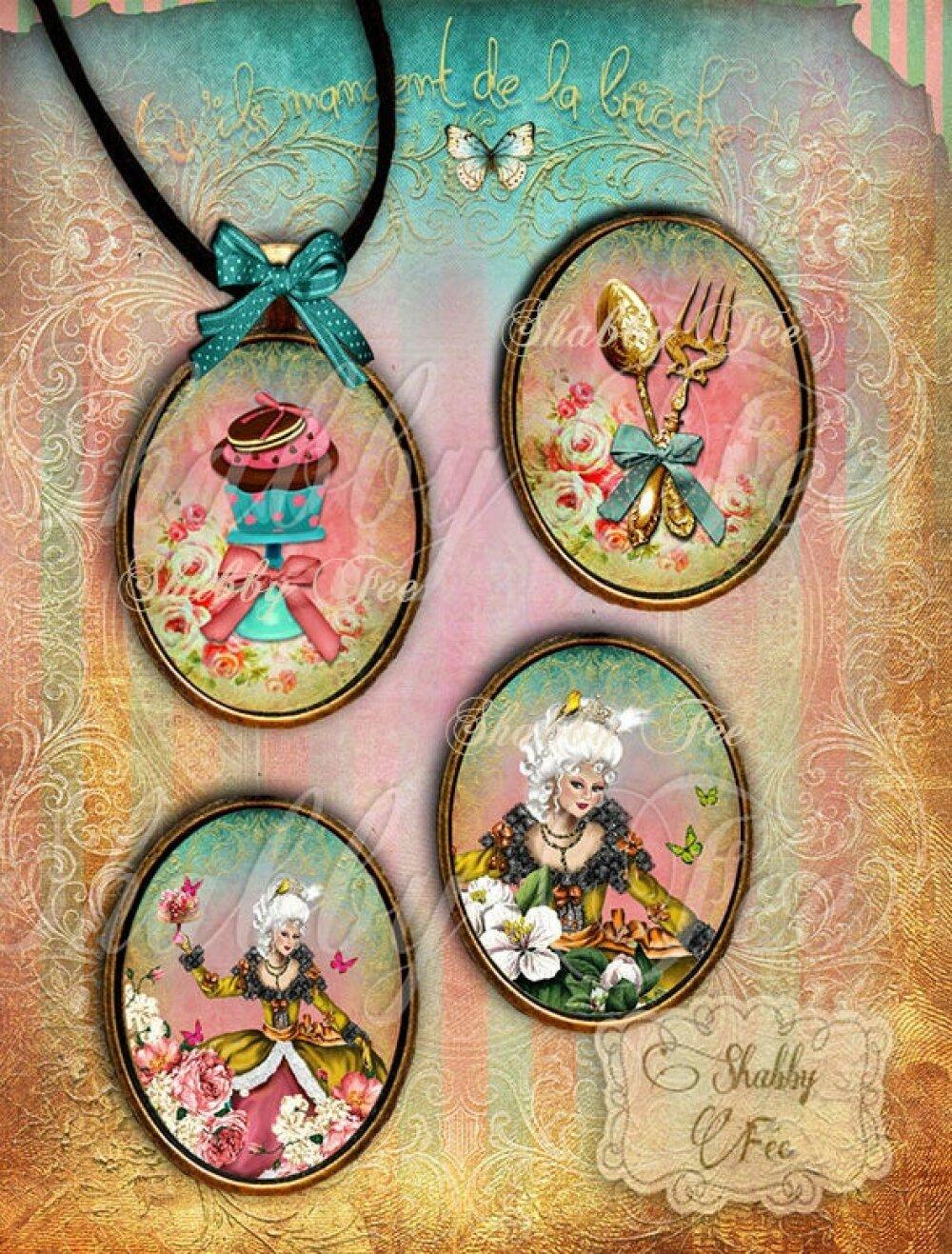 Images digitales pour cabochon + Etiquettes cadeaux - Images pour cabochons - Images à imprimer - Planche image cabochon - Marie-Antoinette
