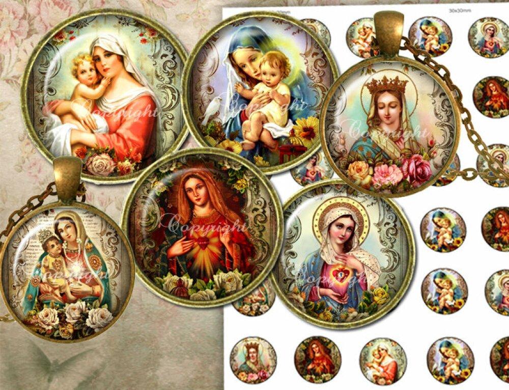 Images pour Cabochons + Etiquettes Cadeau - images digitales pour cabochons - Planche image cabochon, Planche digitale - Images religieuses