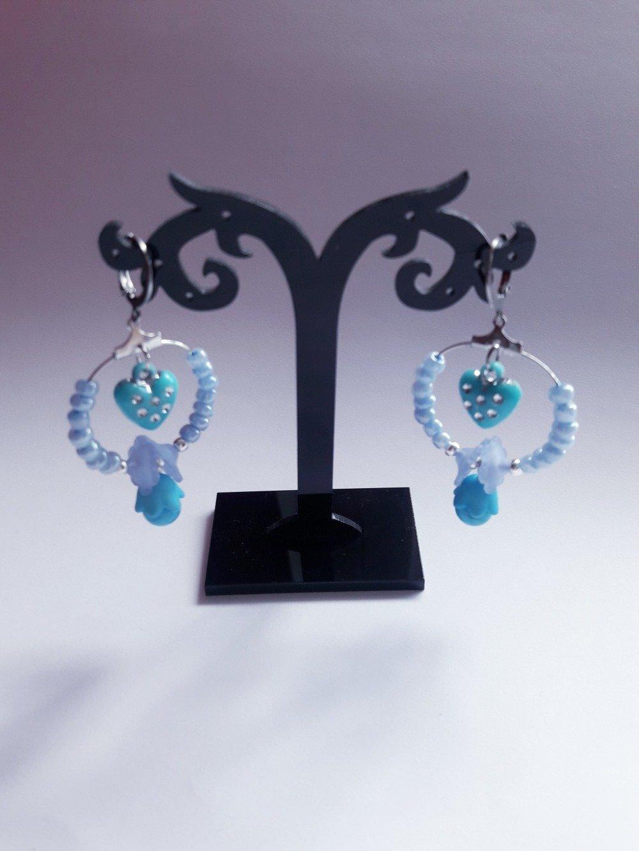 Boucles d'oreilles pour enfants/créoles en métal/perle de rocaille/bleu