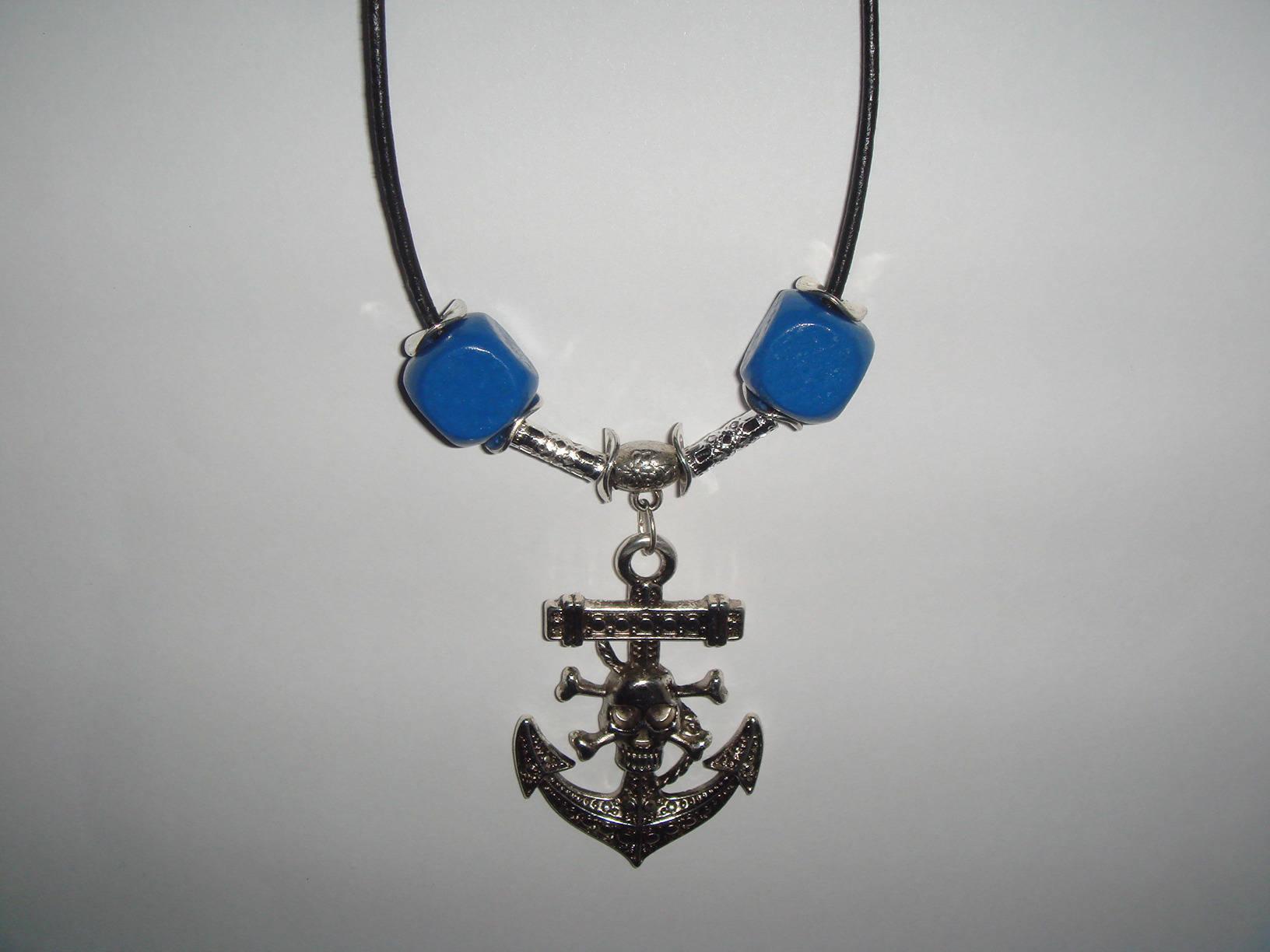 collier homme HARRY cordon cuir pendentif ancre marine