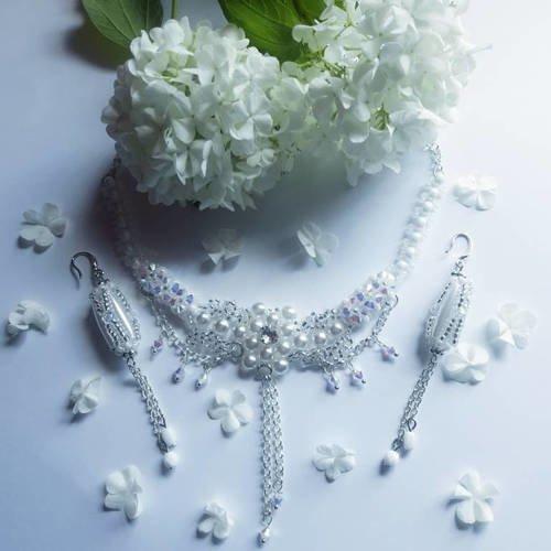 Parure mariage collier boucles d'oreilles perles de cristal blanc