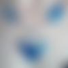 Collier mi-long/perle goutte/sequin/bleu