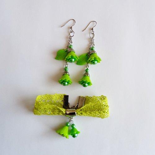 Parure bracelet boucle d'oreilles ruban dentelle/ vert