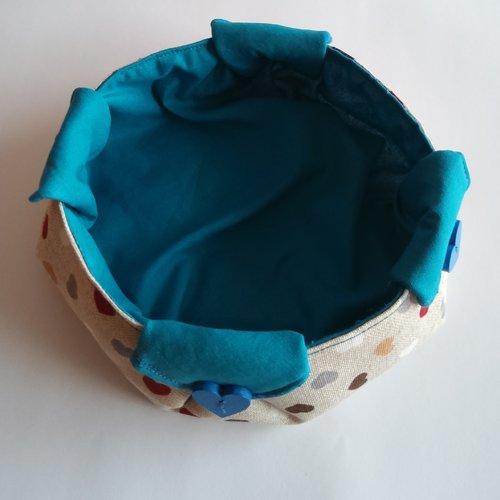 Corbeille en tissu /vide poche/panière de rangement/bouton cœur en bois/bleu