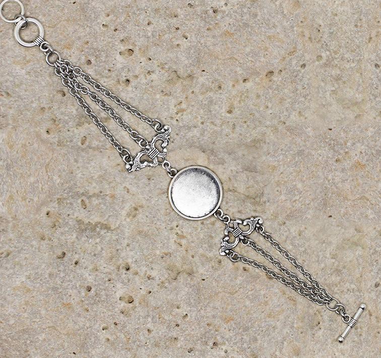 Bracelet support de cabochon rond 20 mm chandelier