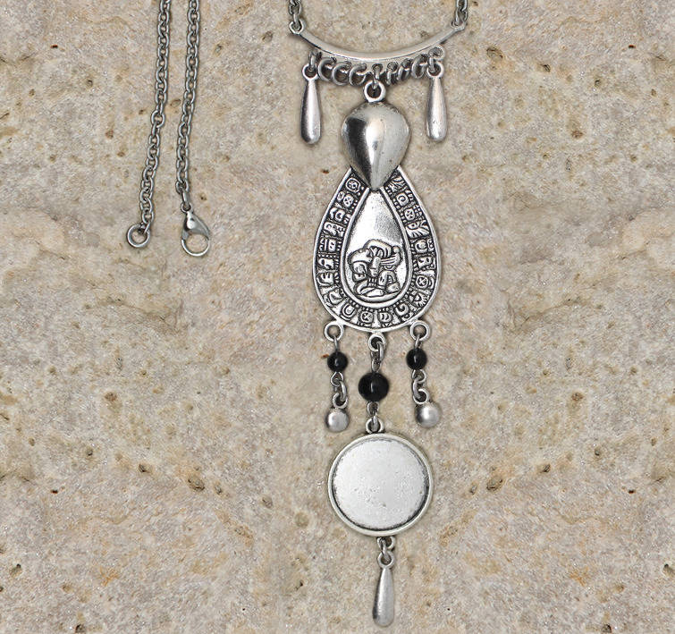 collier support cabochon 20 mm ethnique maya