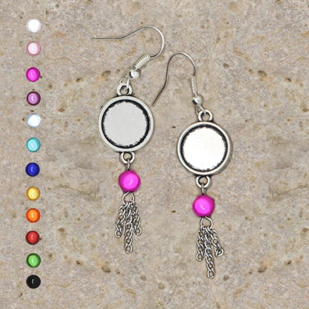 boucles d'oreilles support de cabochon 12 mm perles et chaînettes