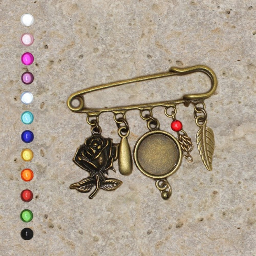 Support broche cabochon 14 mm, rose