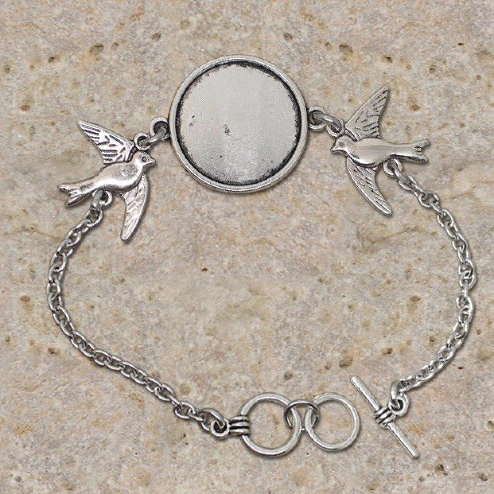 Bracelet support de cabochon rond 20 mm, oiseaux
