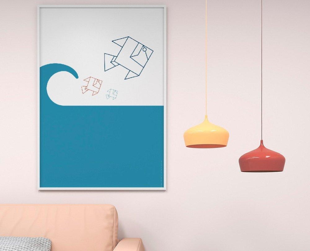 Affiche Poster illustration thème mer : Poisson Origami