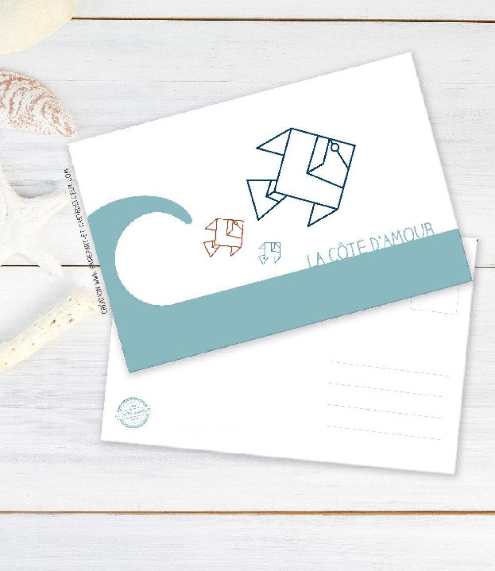 Carte postale déco - thème Marin - Poisson origami