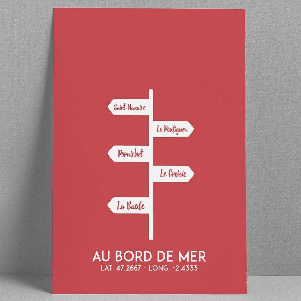 Affiche Poster illustration au bord de mer - 30x40cm - Panneau Rouge