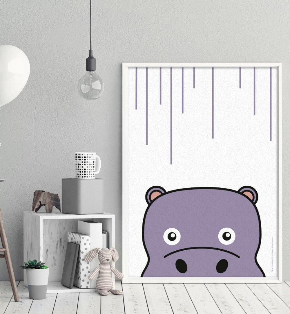Affiche décorative Hippopotame - Affiche A4 21x29,7cm  illustration Animal - Hippopotame - pour Enfant et adulte