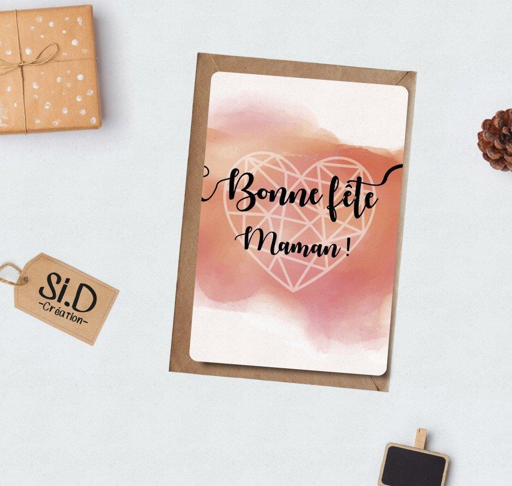 Bonne Fête maman !  Carte Fête des Mères avec son enveloppe (Livraison 2 jours)