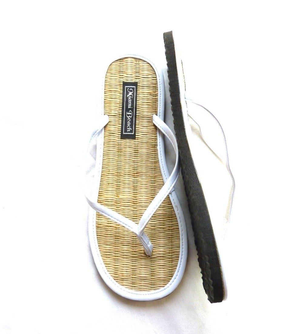 Tongs en paille de riz avec lanières en simili cuir blanc