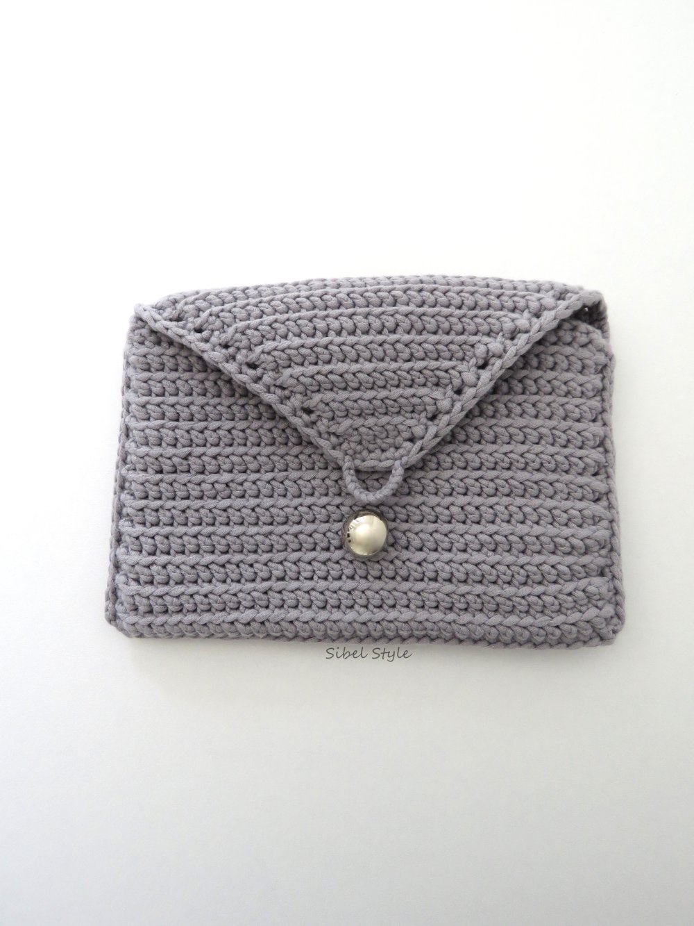 Pochette au crochet fait-main gris, sac à main femme, étui à maquillage/cosmétique trousse de toilette