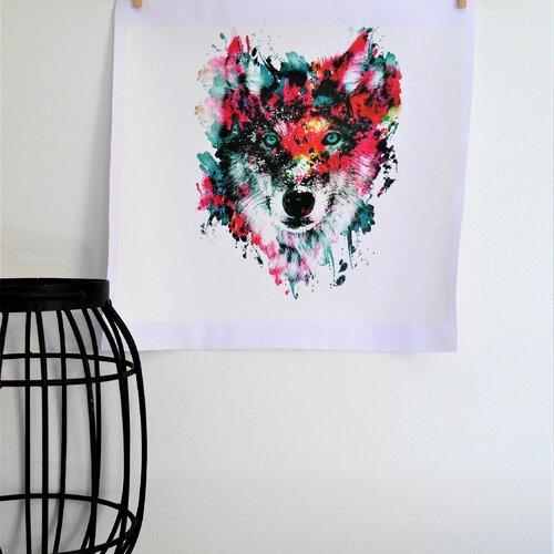 Coupon de tissu en polyester imperméable loup multicolore