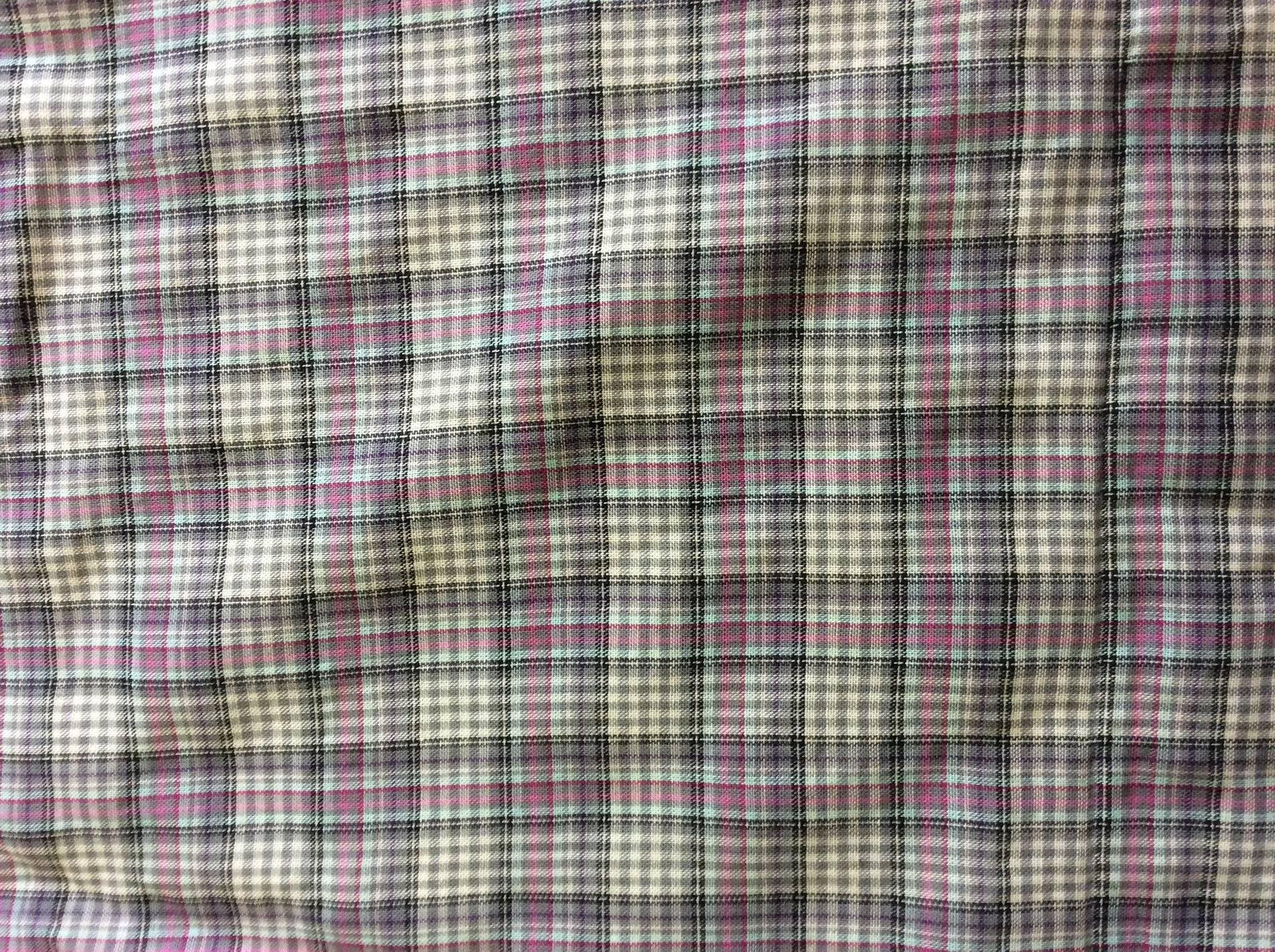 Tissu voile de coton à carreaux gris et mauve