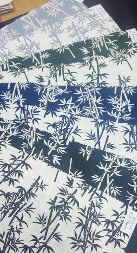 Popeline de coton japonaise, motif bamboo gris