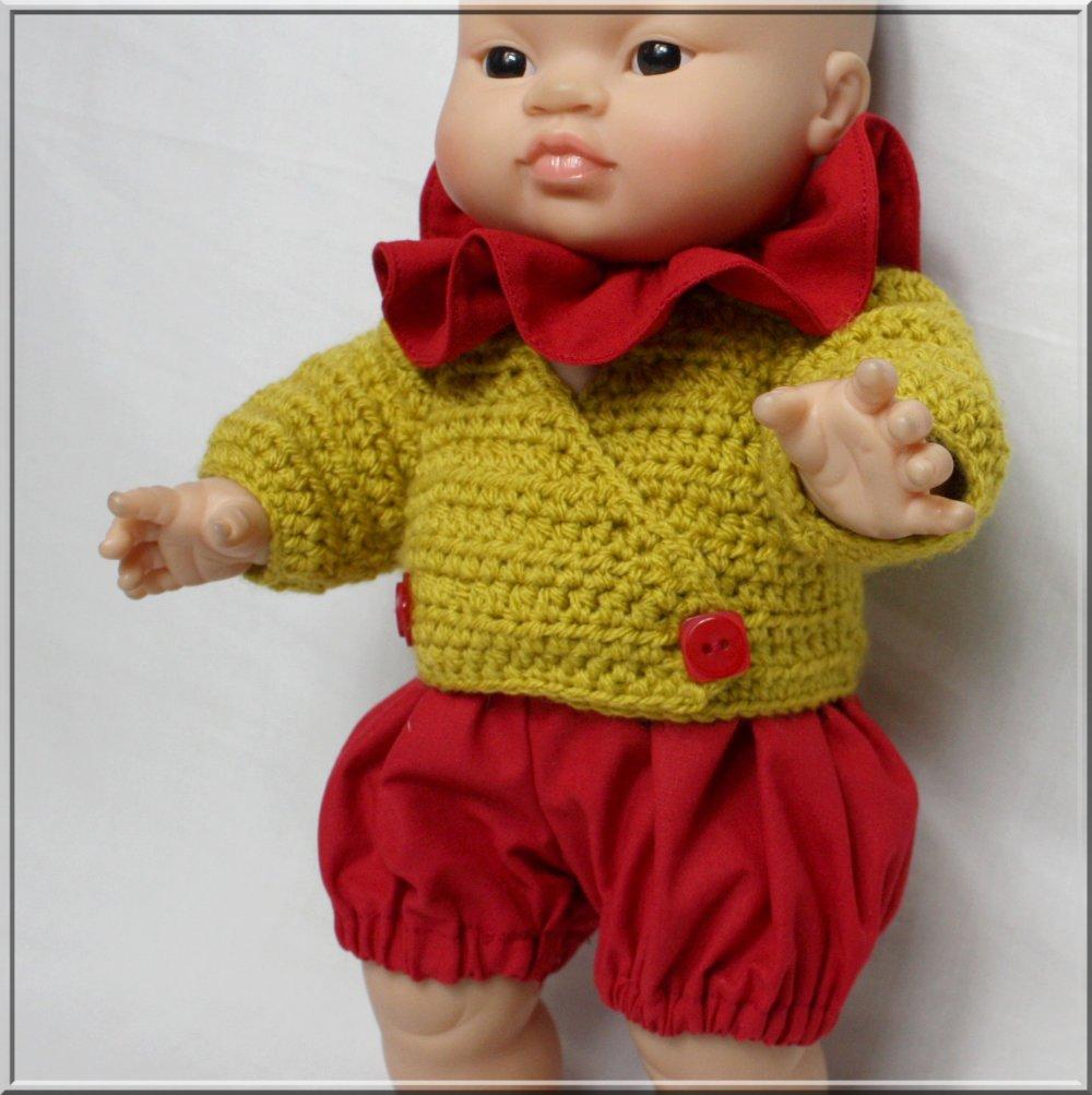 Veste cache-cœur, bloomer et collerette pour poupée