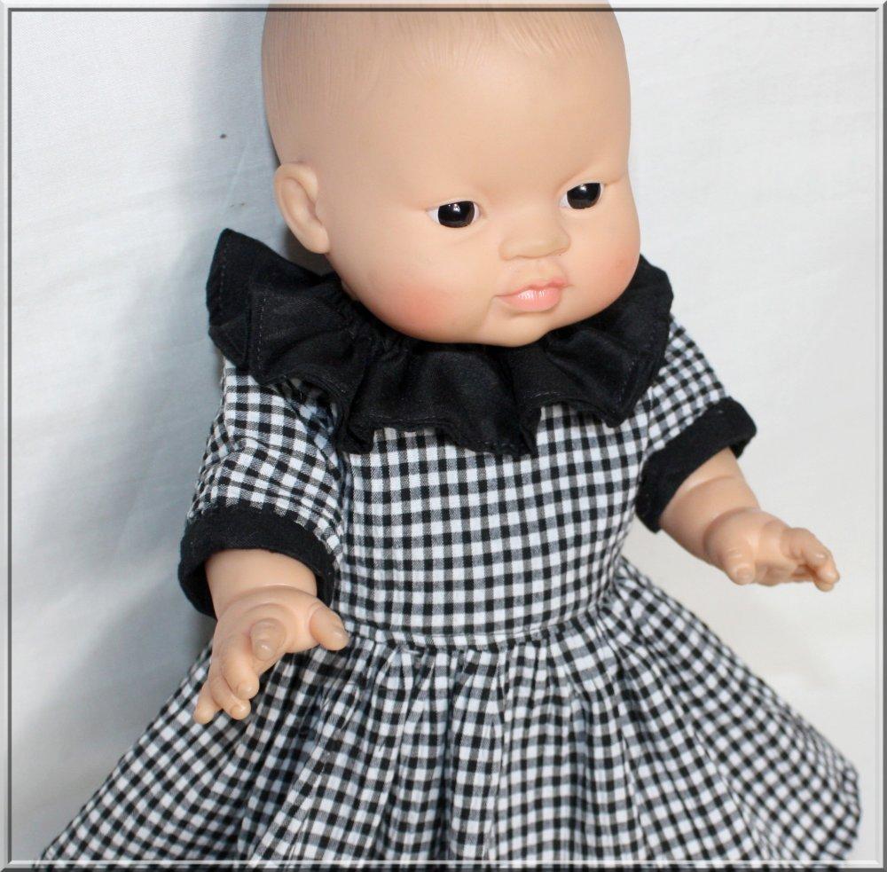 Robe, collerette et bloomer pour poupée, poupon 28/30/34 cm