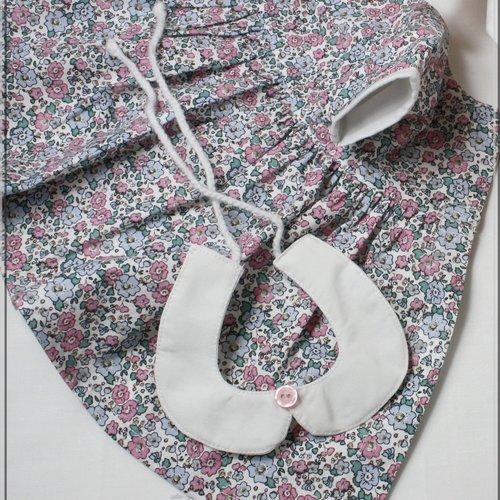 Robe, col claudine et bloomer pour poupon 42 cm