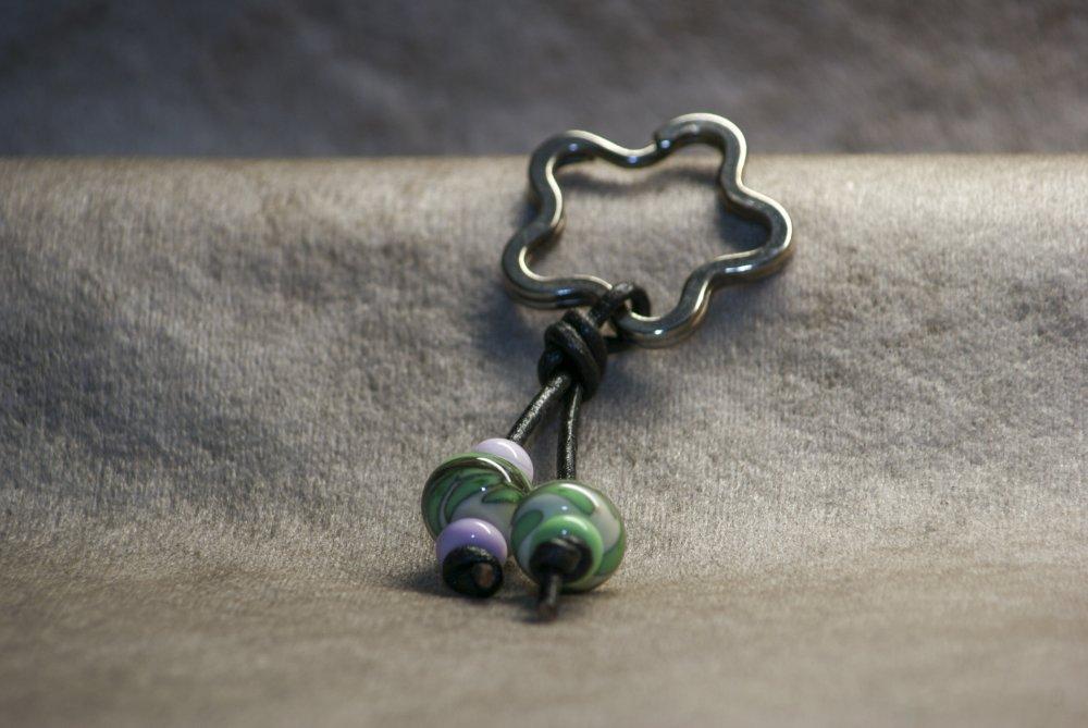 Porte-clés étoile avec perles en verre de Murano rose, vert et ivoire