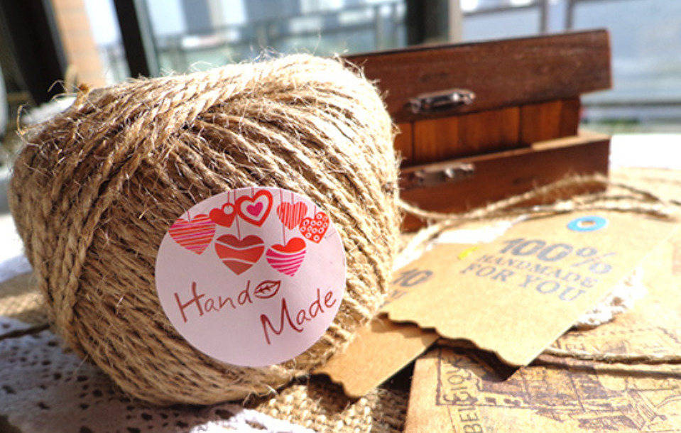 Lot 60 étiquettes autocollante kraft amour coeur love passion fait main hand made handmade creation personnalisée