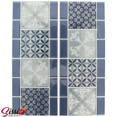 Stickers Mosaique Salle De Bain Cuisine Decoration Home Deco Customisation Frise Bleu Et Gris 30 X 12 Cm 2 Pieces Un Grand Marche