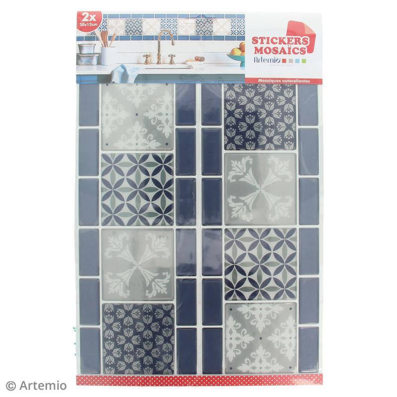 Stickers mosaïque salle de bain cuisine décoration home déco customisation-  frise - bleu et gris - 30 x 12 cm - 2 pièces