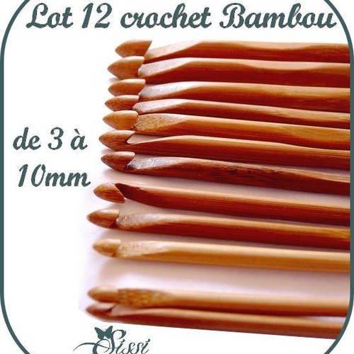 Lot 12 Tailles Crochet Bamboo Aiguille à tricoter 3.0-10mm
